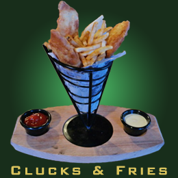 clucks and fries at Groggs Traditional Irish Pub